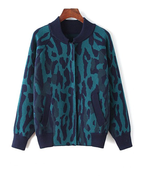 fashion Stand Neck Camoflage Cardigan - GREEN ONE SIZE(FIT SIZE XS TO M)