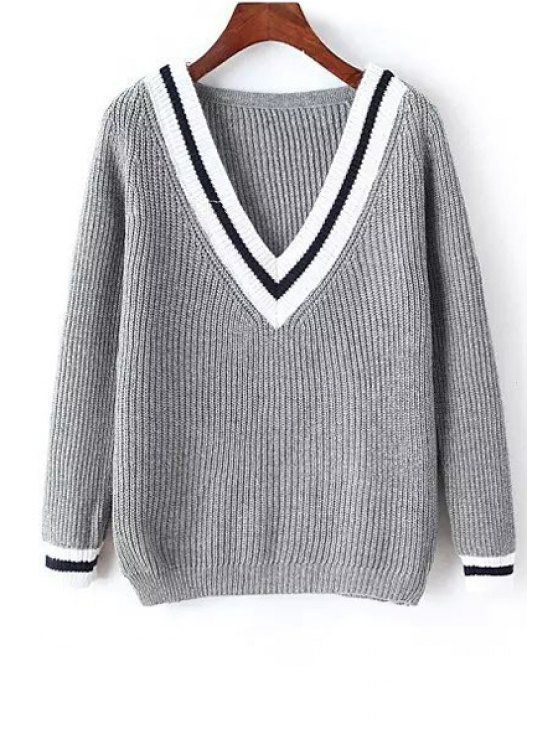chic Striped V Neck Long Sleeve Jumper - GRAY ONE SIZE(FIT SIZE XS TO M)