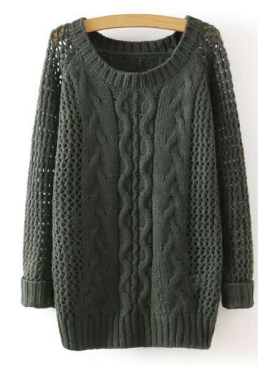 outfits Solid Color Round Collar Hollow Out Sweater - ARMY GREEN ONE SIZE(FIT SIZE XS TO M)