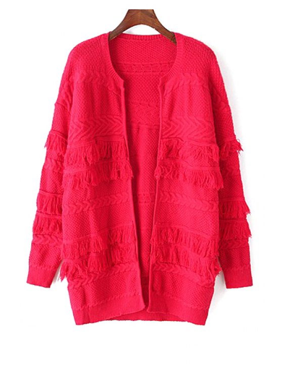 chic Solid Color Fringed Long Cardigan - RED ONE SIZE(FIT SIZE XS TO M)