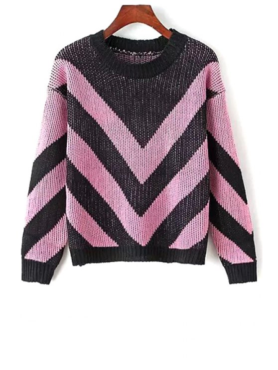 womens Long Sleeve Zig Zag Pattern Jumper - PINK ONE SIZE(FIT SIZE XS TO M)