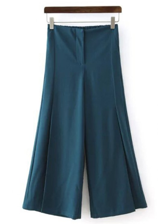trendy Solid Color All Match Loose Fitting Palazzo Pants - BLUE S