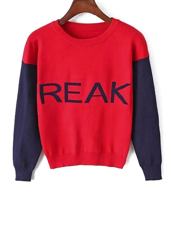 ladies Letters Pattern Long Sleeves Jumper - RED ONE SIZE(FIT SIZE XS TO M)