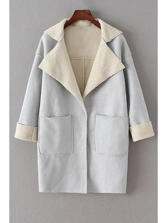 sale Fleece Lining Double Pockets Suede Coat - GRAY M