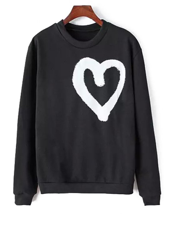 women's Heart Print Long Sleeves Sweatshirt - BLACK ONE SIZE(FIT SIZE XS TO M)