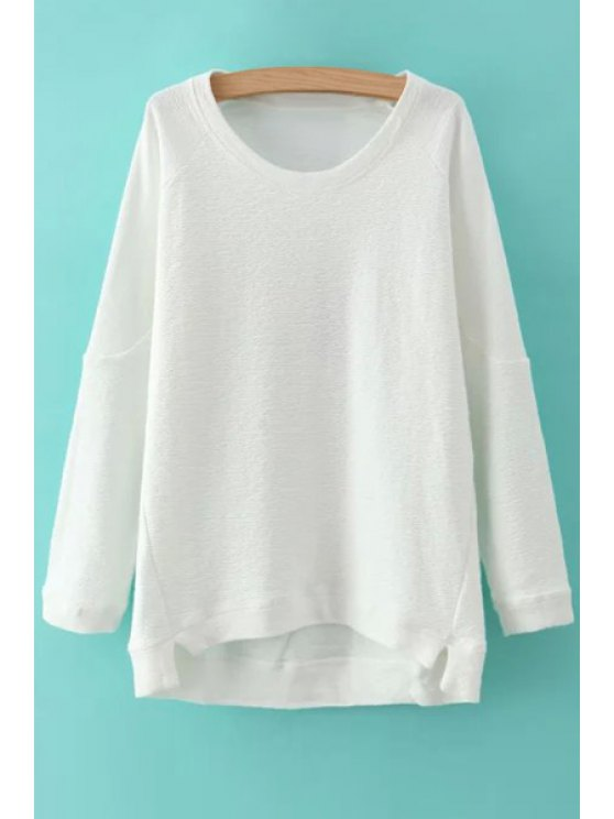 chic Solid Color Irregular Hem Round Collar Sweatshirt - WHITE ONE SIZE(FIT SIZE XS TO M)
