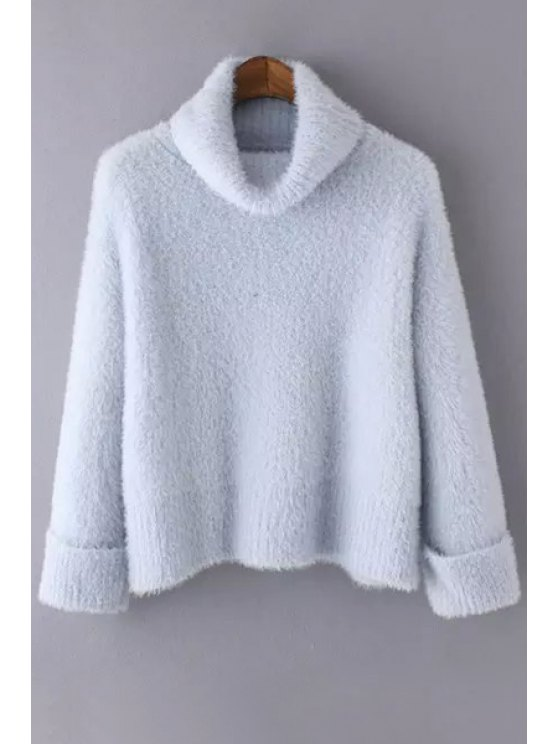 best Pure Color Turtle Collar Long Sleeve Jumper - LIGHT BLUE ONE SIZE(FIT SIZE XS TO M)