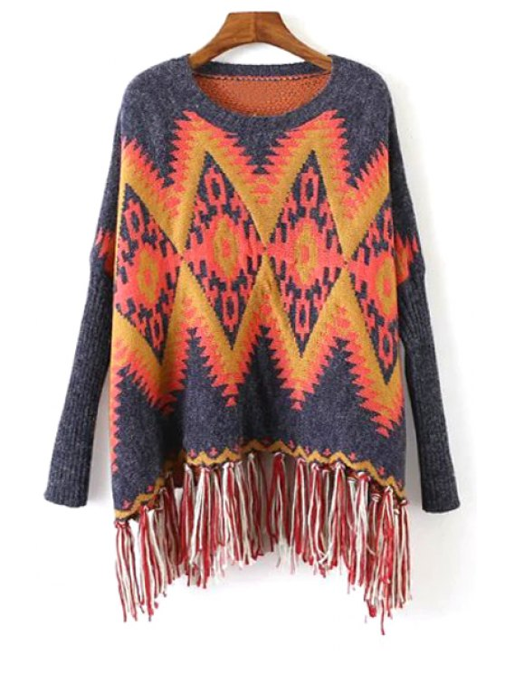 sale Fringed Jacquard Oversized Sweater - BLUE ONE SIZE(FIT SIZE XS TO M)