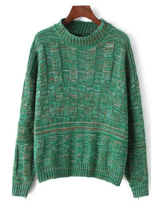 fancy Loose Fitting Round Collar Long Sleeves Sweater - GREEN ONE SIZE(FIT SIZE XS TO M)
