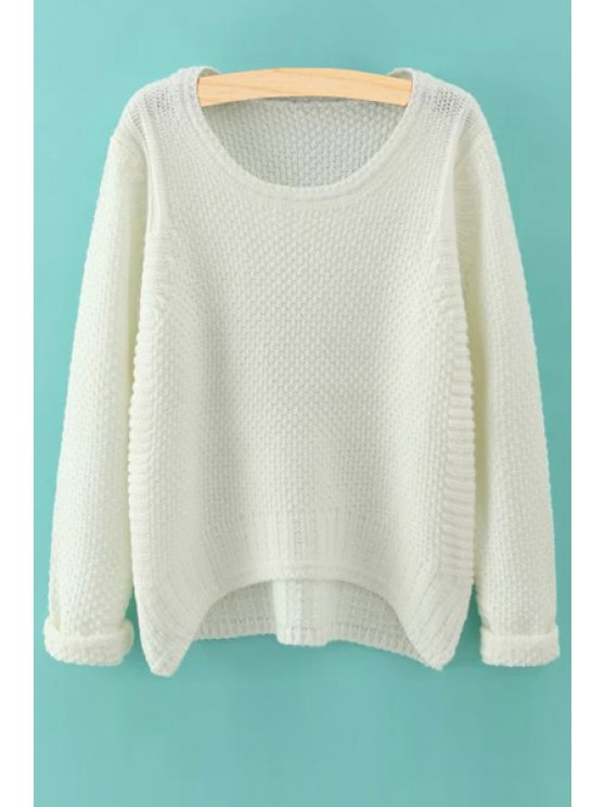 affordable Irregular Hem Solid Color Jumper - WHITE ONE SIZE(FIT SIZE XS TO M)