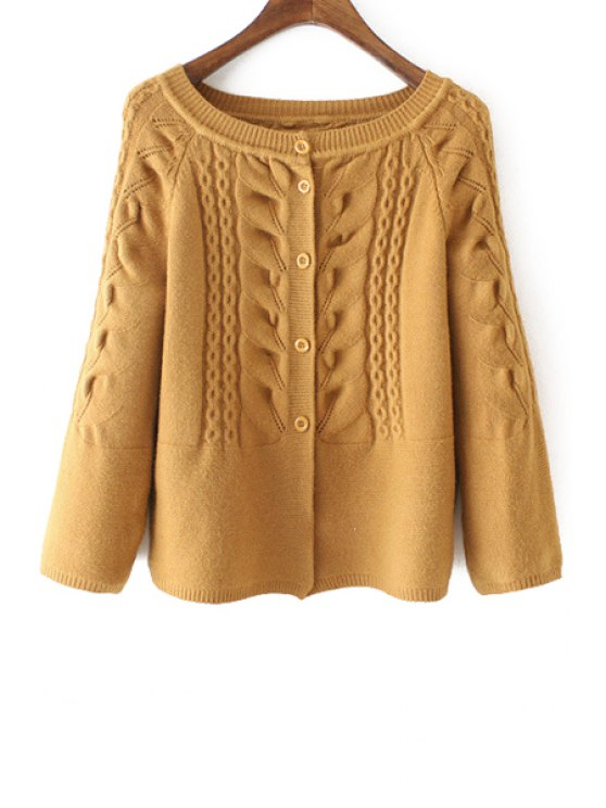 outfits Cable-Knit Scoop Neck Long Sleeve Cardigan - YELLOW ONE SIZE(FIT SIZE XS TO M)