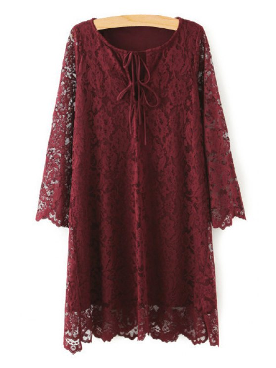 unique Openwork Lace Hook Loose Dress - WINE RED ONE SIZE(FIT SIZE XS TO M)