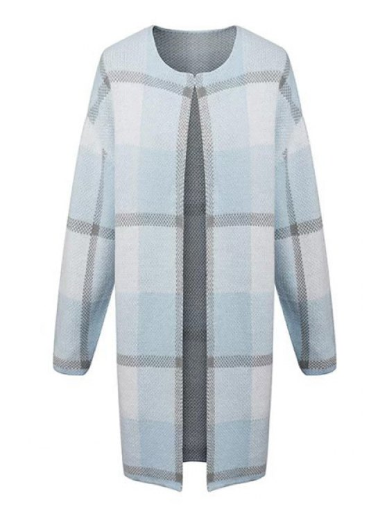 women's Round Neck Plaid Longline Cardigan - LIGHT BLUE S
