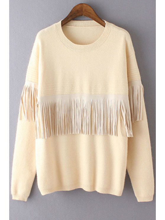 trendy Tassels Spliced Long Sleeves Jumper - BEIGE ONE SIZE(FIT SIZE XS TO M)