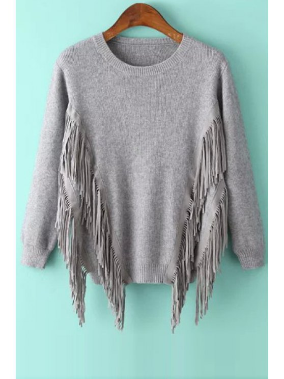 ladies Tassels Solid Color Round Collar Long Sleeves Sweater - GRAY ONE SIZE(FIT SIZE XS TO M)