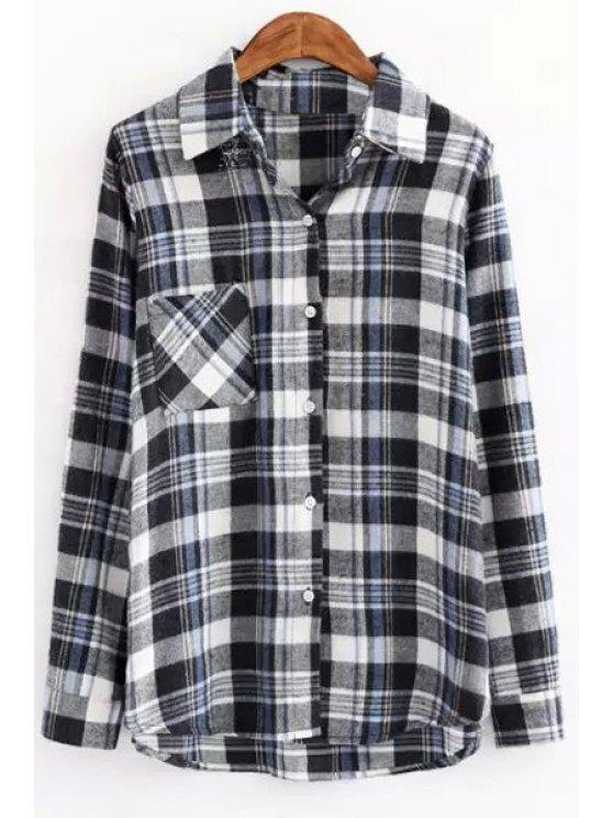 new Long Sleeve Plaid One Pocket Shirt - BLACK S