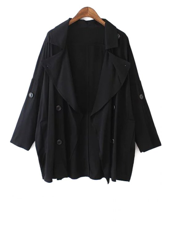 hot Lapel Pure Color Long Sleeve Trench Coat - BLACK S