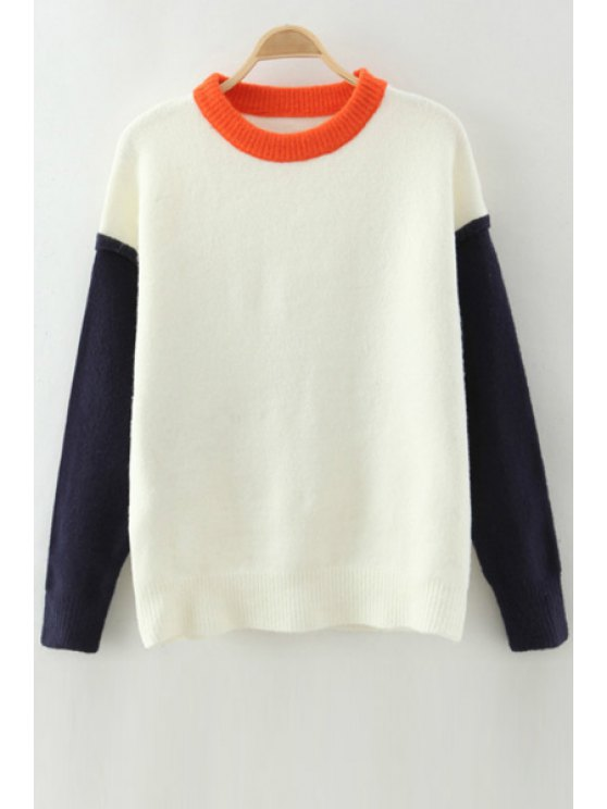 online Round Neck Hit Color Jumper - WHITE ONE SIZE(FIT SIZE XS TO M)