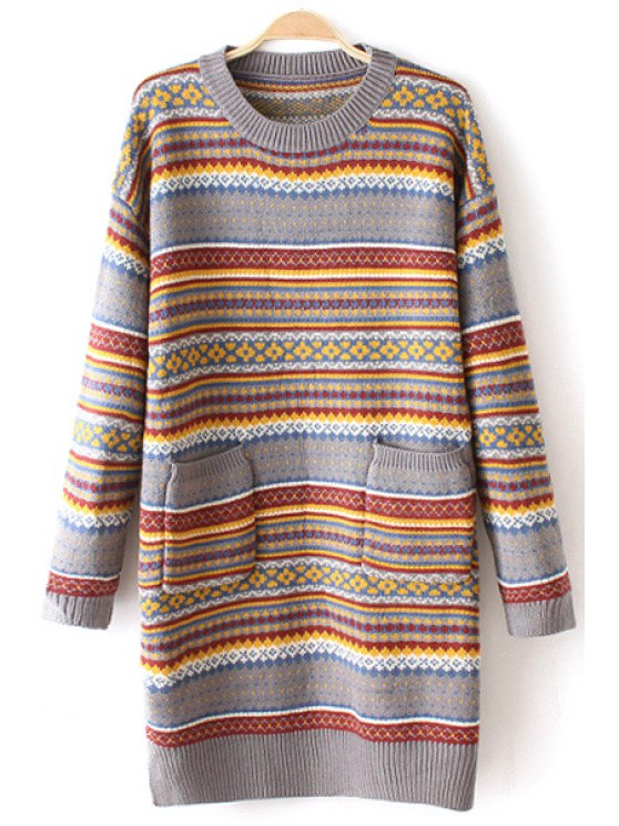 buy Ethnic Pattern Long Sleeve Long Jumper - GRAY ONE SIZE(FIT SIZE XS TO M)