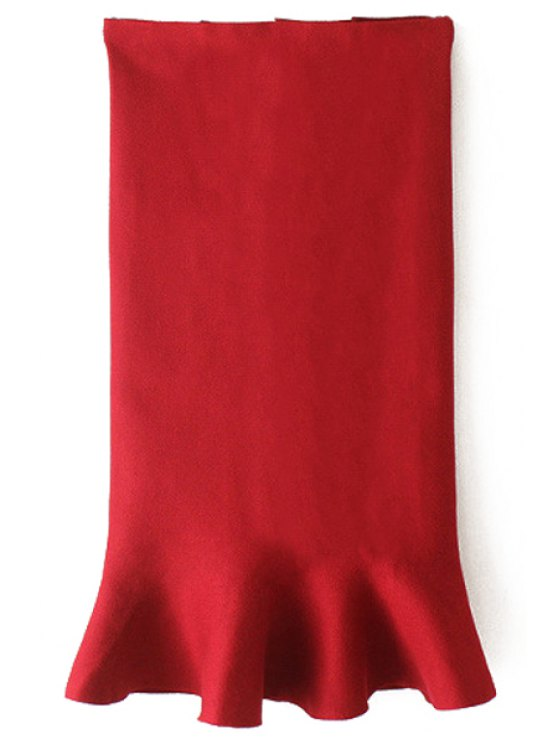 buy Flouncing High Waist Bodycon Skirt - RED ONE SIZE(FIT SIZE XS TO M)