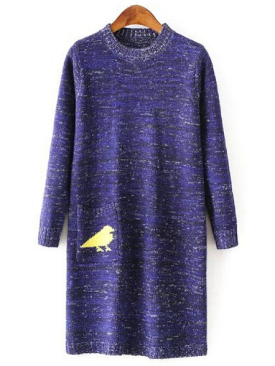 lady Bird Print Round Collar Long Sleeves Sweater Dress - BLUE ONE SIZE(FIT SIZE XS TO M)