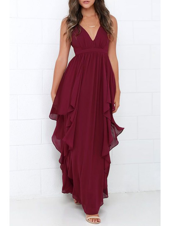 outfits Ruffles V Neck Sleeveless Chiffon Maxi Dress - WINE RED S