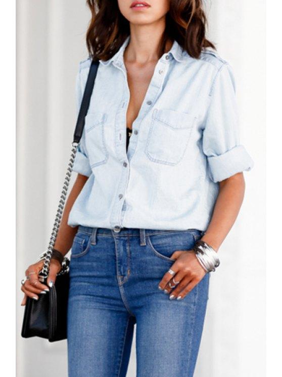 lady Light Blue Turn Down Collar Long Sleeve Shirt - LIGHT BLUE S