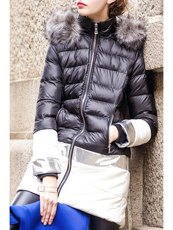 ladies Hooded Faux Fur Embellished Winter Coat - BLACK S