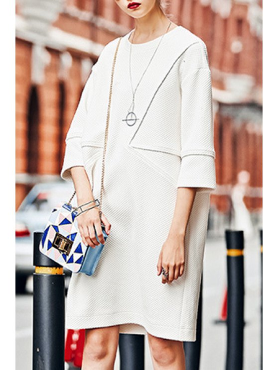buy 3/4 Sleeve Loose-Fitting Sweater Dress - WHITE S