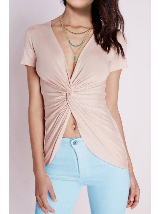 fancy Short Sleeve Front Twist T-Shirt - APRICOT XS