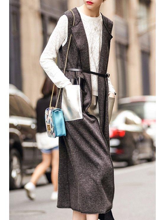 chic PU Leather Pockets Wool Waistcoat - GRAY S