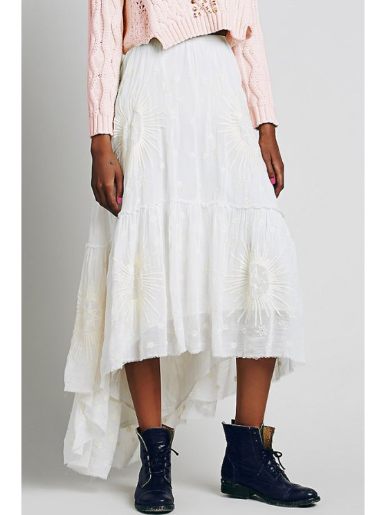 latest Sun Embroidery Solid Color Skirt - WHITE S