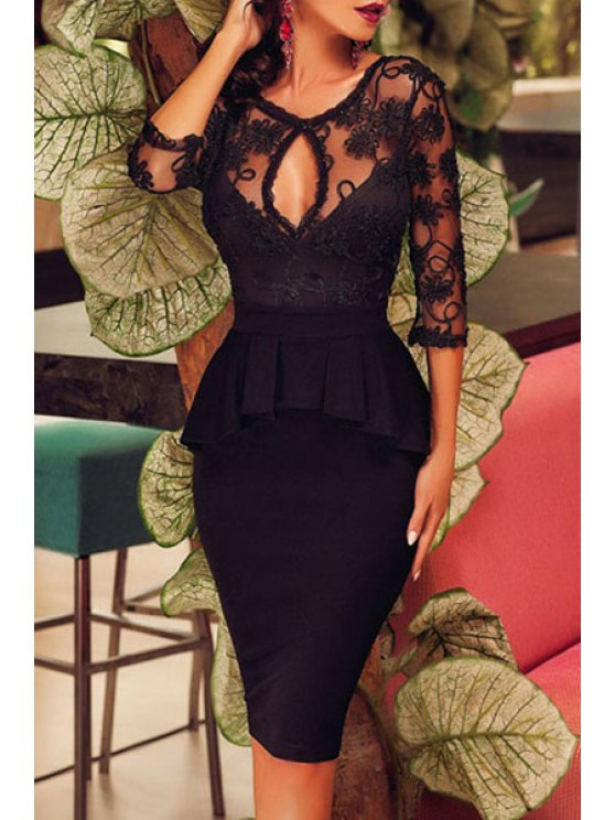 best See-Through Ruffles Spliced Solid Color Bodycon Dress - BLACK ONE SIZE(FIT SIZE XS TO M)