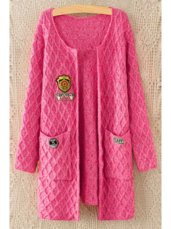women's Badge Embellished Two Pockets Cardigan - WATERMELON RED ONE SIZE(FIT SIZE XS TO M)