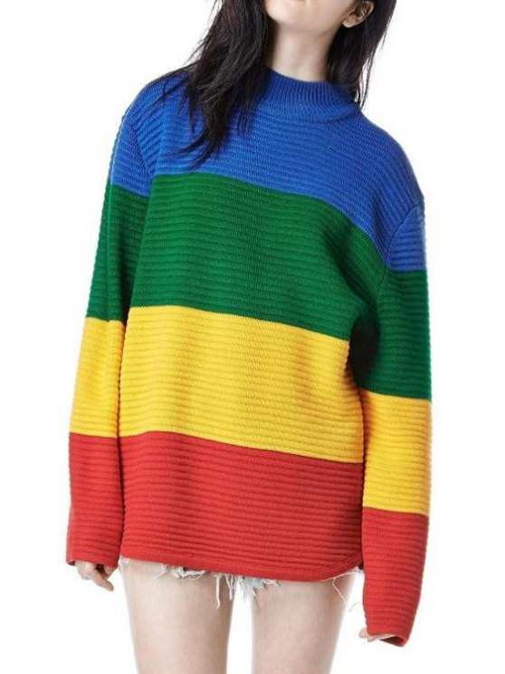 lady Color Block Colorful Sweater - COLORMIX ONE SIZE(FIT SIZE XS TO M)