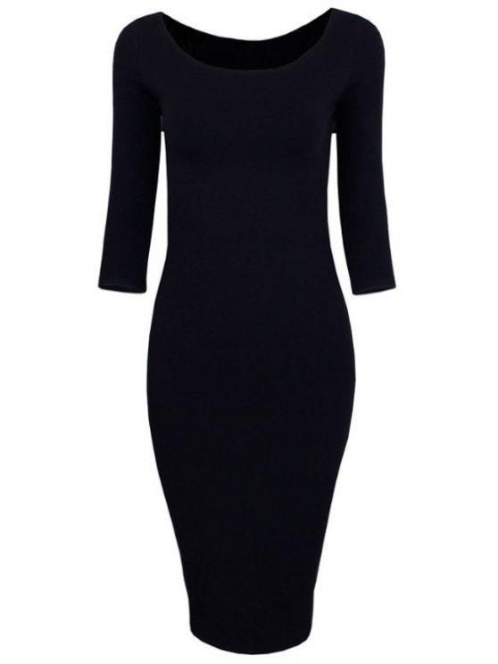 unique 3/4 Sleeve Pure Color Bodycon Dress - BLACK S