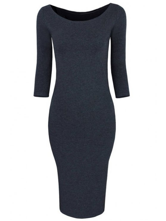 new 3/4 Sleeve Pure Color Bodycon Dress - GRAY XL