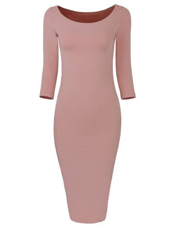 outfit 3/4 Sleeve Pure Color Bodycon Dress - LIGHT PINK M