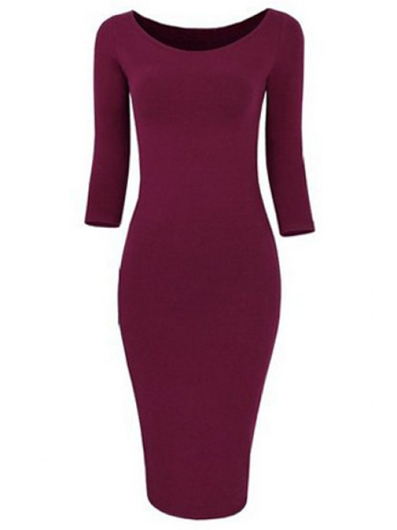 shops 3/4 Sleeve Pure Color Bodycon Dress - WINE RED S