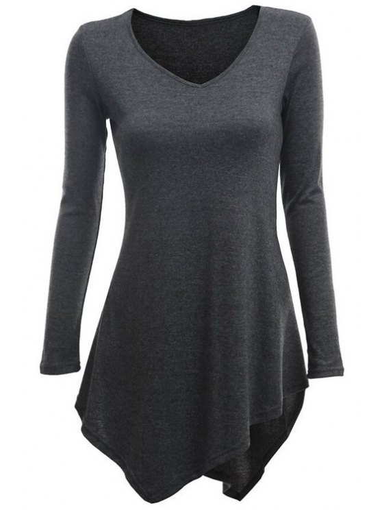 chic Irregular Hem V Neck Long Sleeve T-Shirt - DEEP GRAY S