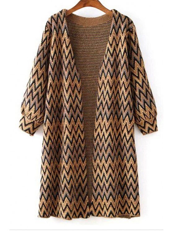online Zig Zag Open Front Long Cardigan - YELLOW ONE SIZE(FIT SIZE XS TO M)