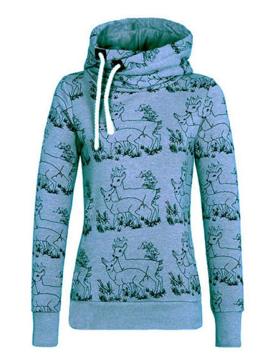 new Fawn Print Stand Neck Long Sleeve Sweatshirt - BLUE S