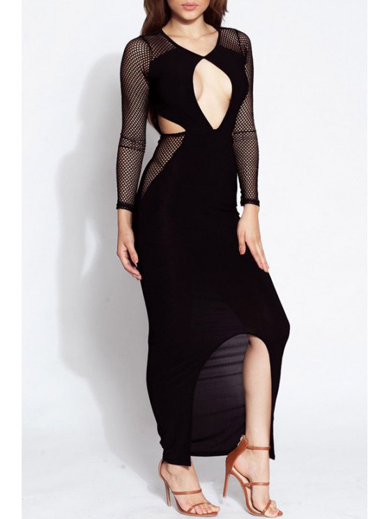 chic Cut Out Solid Color Mesh Front Slit Maxi Dress - BLACK ONE SIZE(FIT SIZE XS TO M)