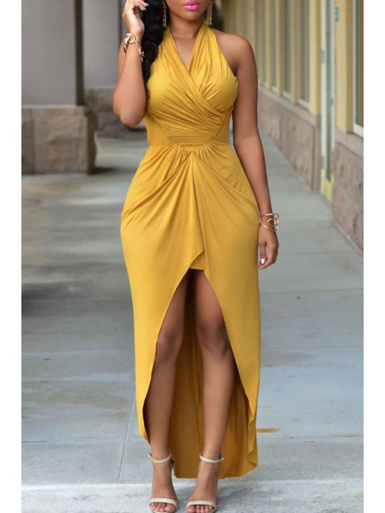 sale Halter Neck High-Low Hem Solid Color Maxi Dress - YELLOW ONE SIZE(FIT SIZE XS TO M)
