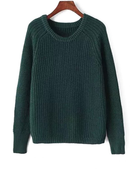 hot Round Neck Simple Design Jumper - BLACKISH GREEN XS
