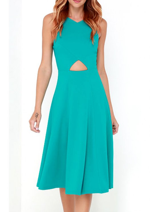 ladies Back Zipper Spaghetti Straps Cut Out Solid Color Dress - BLUE XS