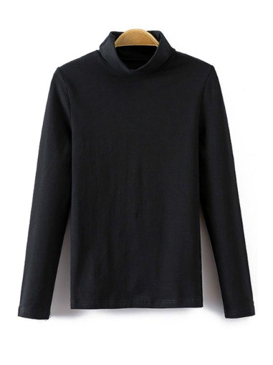 latest Turtle Neck Long Sleeve T-Shirt - BLACK S