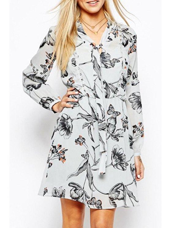women Butterfly Print Lace Spliced Long Sleeves Dress - WHITE S