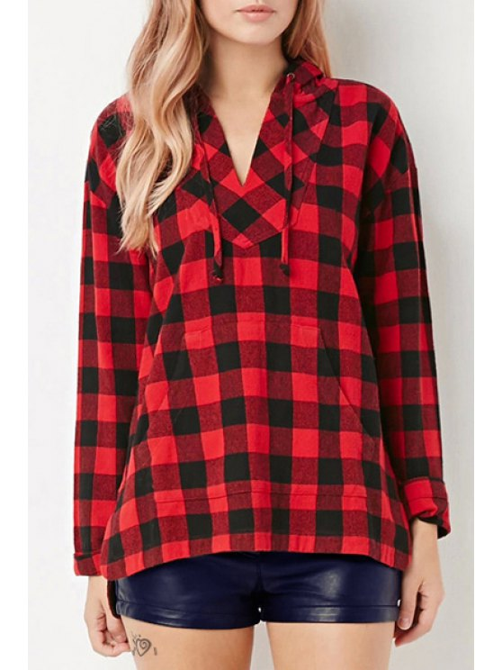ladies Red Checked Long Sleeve Pullover Hoodie - RED S
