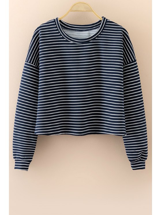 ladies Striped Round Neck Long Sleeve T-Shirt - CADETBLUE S